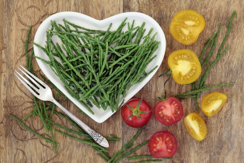 Samphire y comida de la dieta sana del tomate imagen de archivo