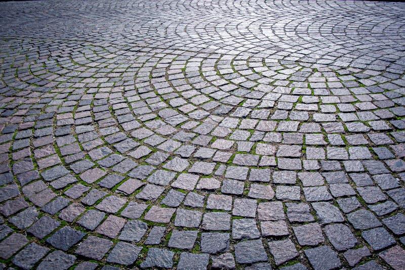 Sampietrini: Italienische traditionelle gepflasterte Stadtstraße lizenzfreie stockfotos