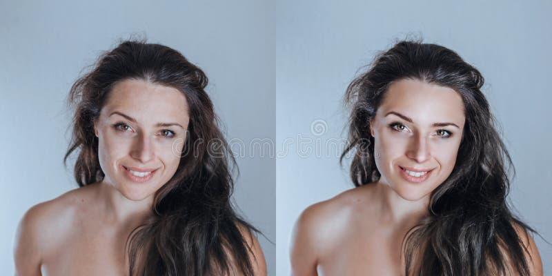 Sampl сильного но естественного молодого женского портрета студии ретушируя стоковые фото