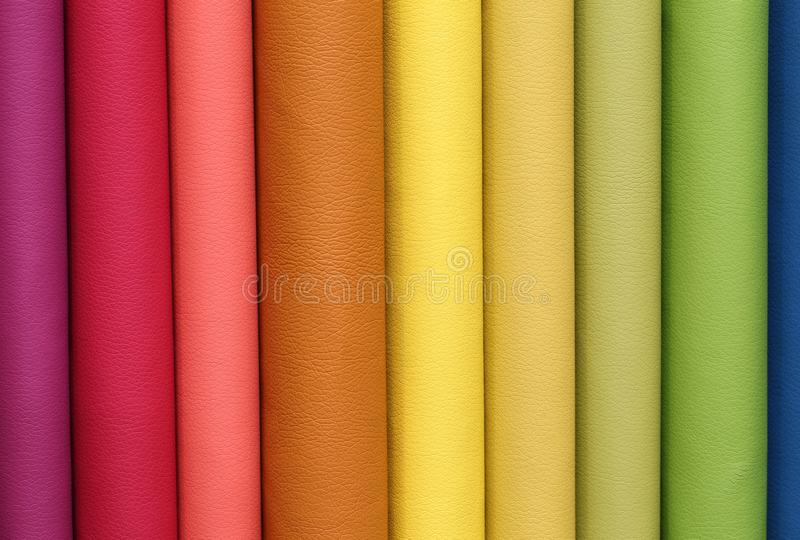 Sample of colored leather pieces of the tannery royalty free stock image