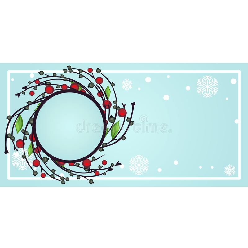 Sample design of placard with attributes of New Year and Christmas. Sketch of poster, party invitation and other cards stock illustration