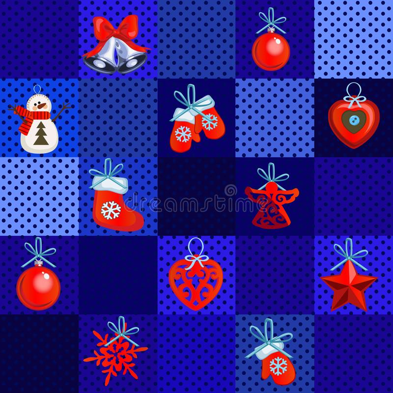 Sample design wrapping paper with attributes of the New Year and Christmas. Sketch of the poster, party invitation and vector illustration