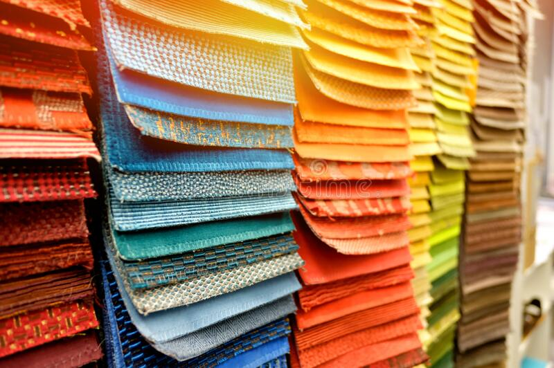 Sample of fabric board material for interior architecture and  furniture finishing design concept royalty free stock photo