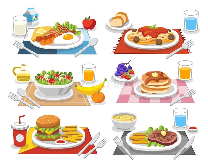Sample food at each meal. Meals of people who should eat. Sample food at each meal. Meals of people who should eat in a day. Ideas for creating a nutritional royalty free illustration
