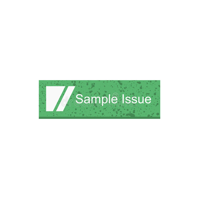 Sample issue rectangle button. Green color stock illustration