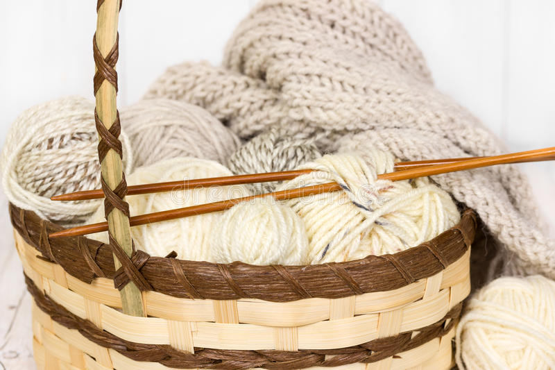 Sample of knitting from woolen yarn white color royalty free stock image