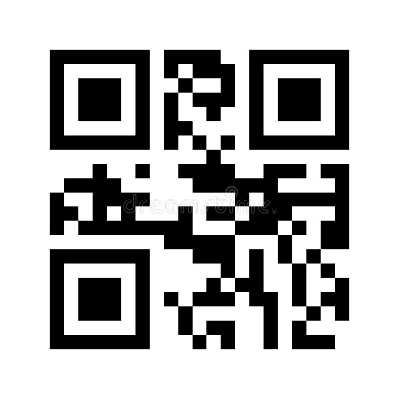 Sample of modern QR code isolated on white background for scanning with smartphone. royalty free illustration