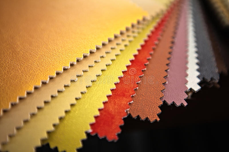 Sample pieces of colorful leather royalty free stock image