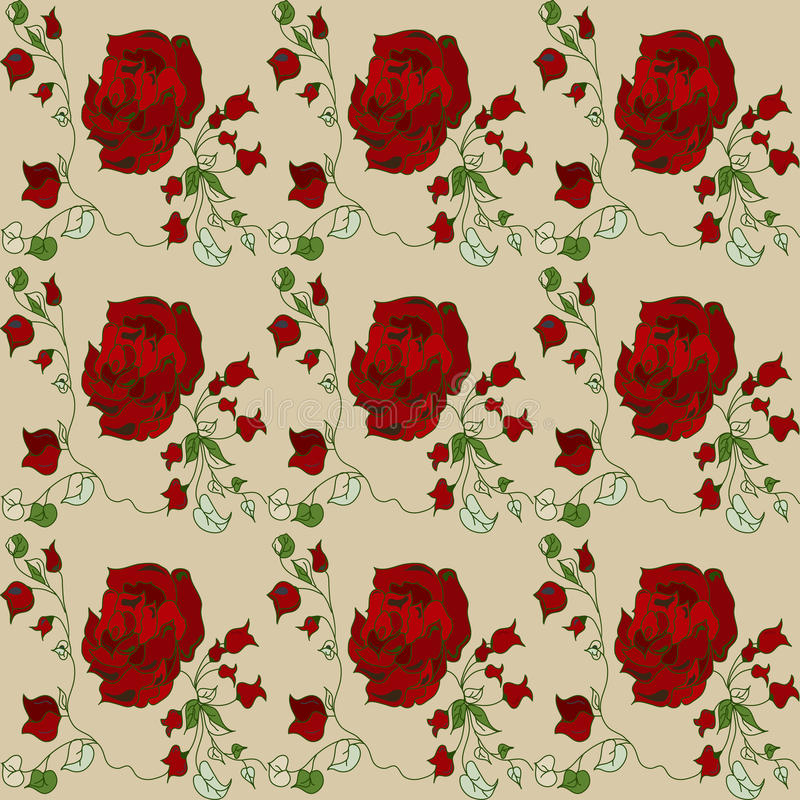 Download Sample Of A Red Rose Wallpaper Pattern Stock Vector