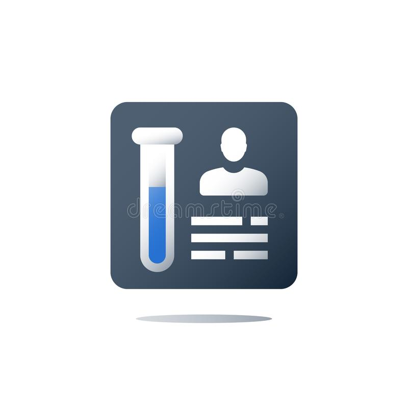 Sample test result, medical laboratory analysis, lab tube, chemistry research, pharmacology concept. Medical laboratory analysis, sample test result, lab tube royalty free illustration