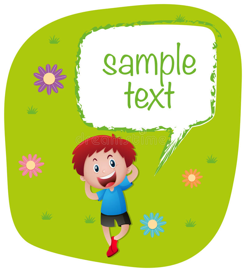 Sample text with boy on lawn. Illustration royalty free illustration