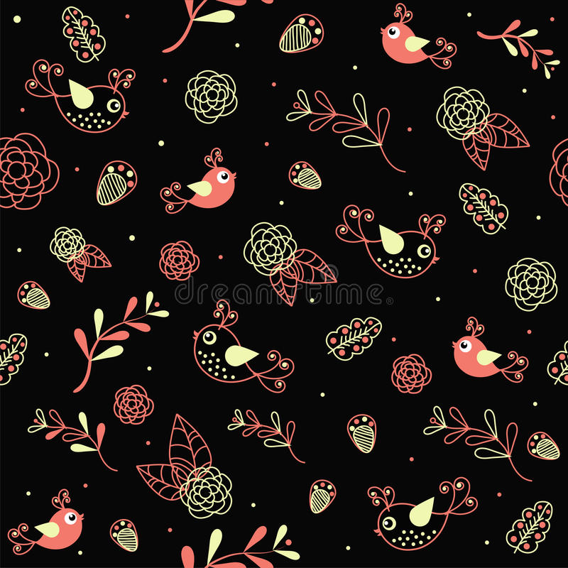 Sample texture with flowers and birds. On black background vector illustration