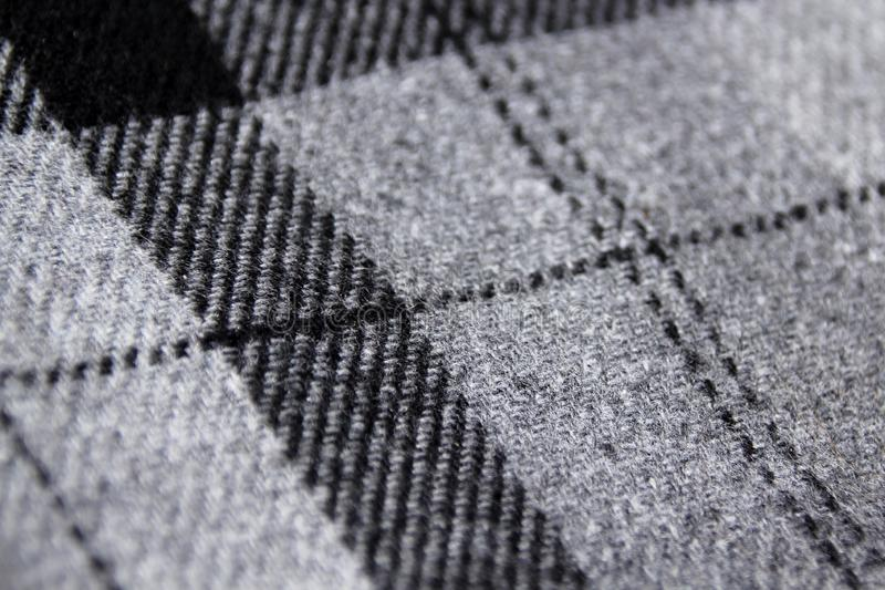 Sample of thick checked and striped fabric, fabric texture, close-up, copy space, macro photo stock photography