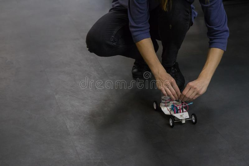 Sample of using a hydrogen engine in a toy car royalty free stock images