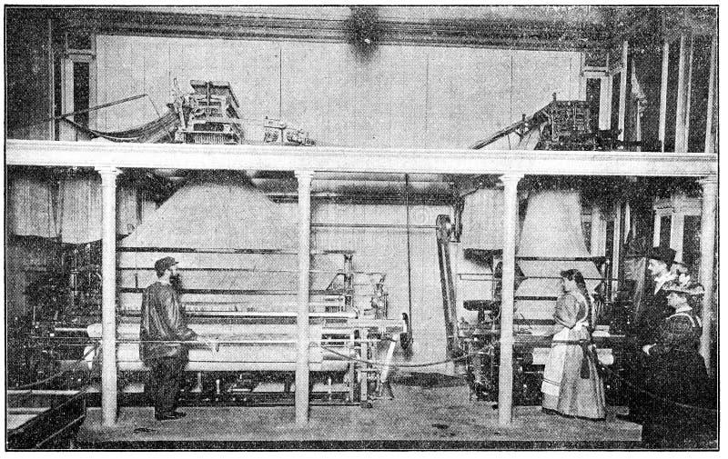Sample weaving workshop 1898. stock images
