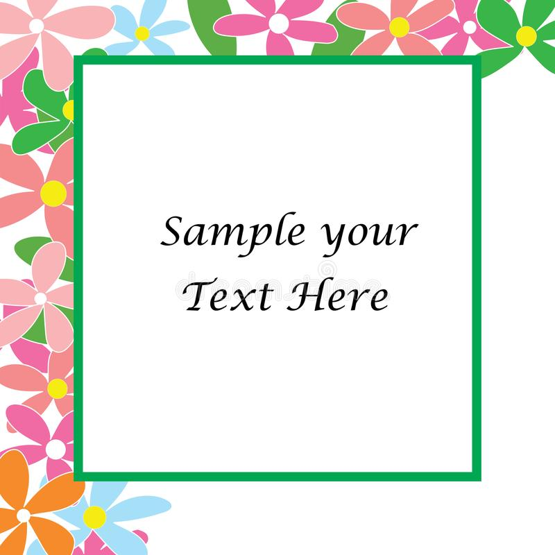 Download Sample Your Text Here Card With Colorful Flower In Frame Stock Vector