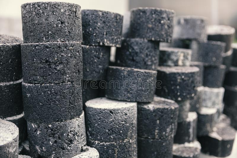 Samples of asphalt. For quality testing royalty free stock images
