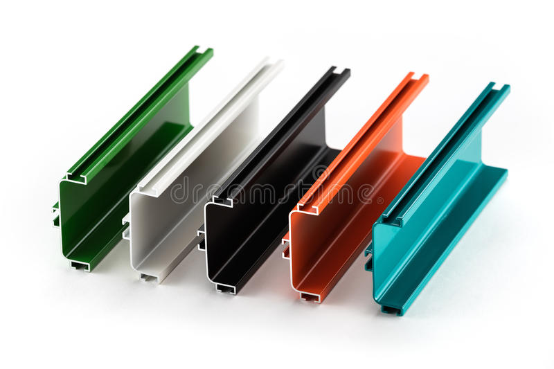 Samples of colorful aluminum profiles royalty free stock photos