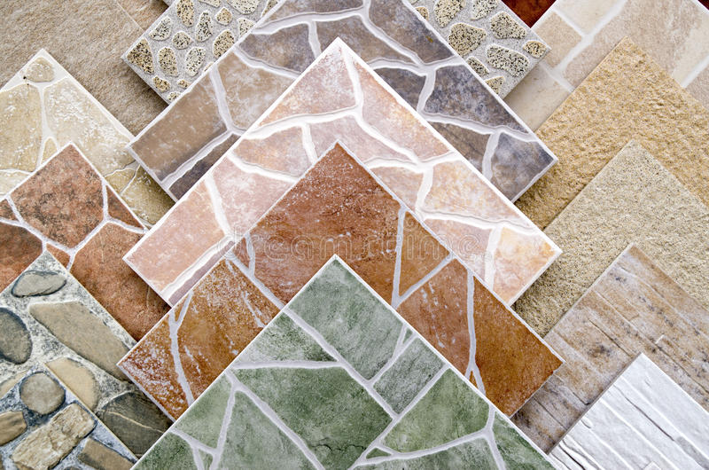 Samples of a colorful ceramic tile closeup stock photography