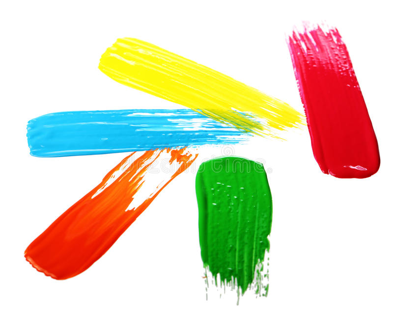 Samples of colorful paint stock image
