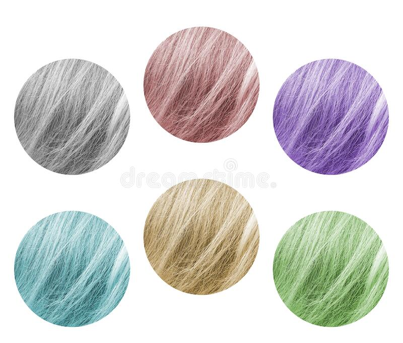 Samples of a hair palette in different colors toned. Samples of a hair palette in different colors fashion toned royalty free stock photography