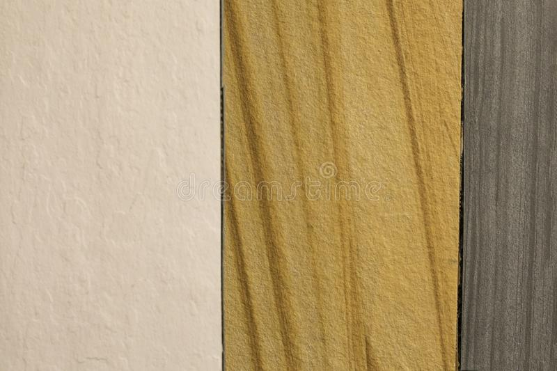 Samples of material stone venner displayed at store royalty free stock images