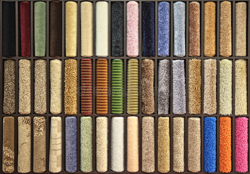 Samples of multi-colored carpets royalty free stock image
