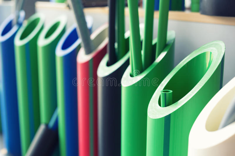 Samples of polymer pipes. Samples of different polymer pipes royalty free stock image