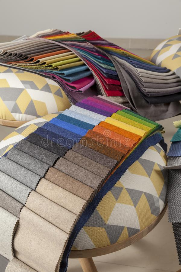 Samples of textiles for upholstery furniture royalty free stock photo