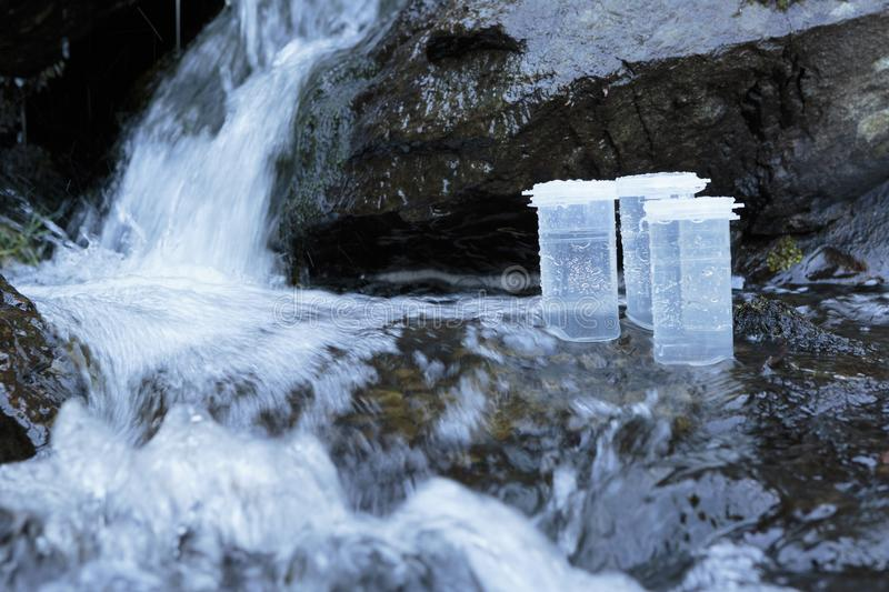 Collection bottles for environmental samples stock image