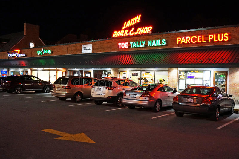 Sams Park & Shop at Night. Photo of sams park and shop at night in north west cleveland park of washington dc on 3/17/15. This was founded by samuel j. gorlitz royalty free stock photo