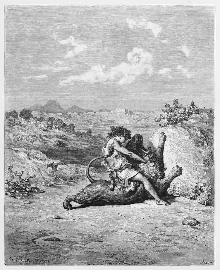 Samson che uccide il leone fotografia stock
