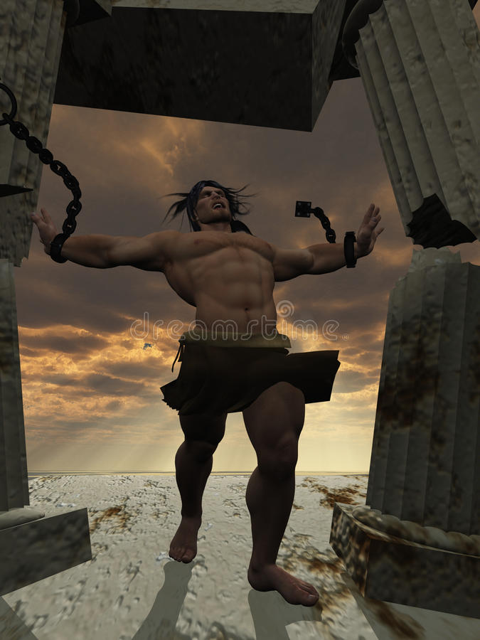 Samson die de tempel neerhaalt stock afbeelding