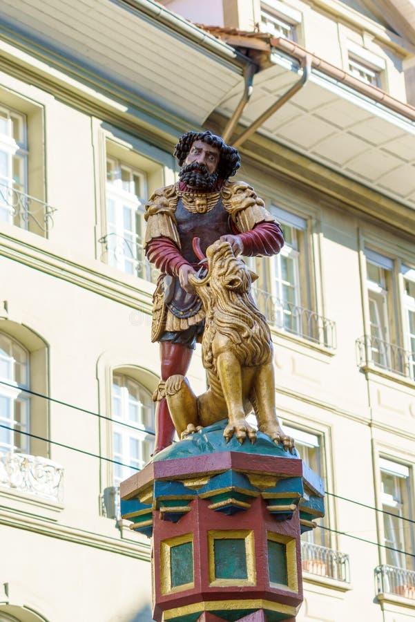Samson die een leeuw, Één doden van de beroemde Renaissancefonteinen stock fotografie