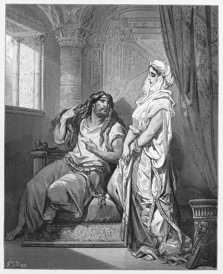 Samson en Delilah royalty-vrije illustratie