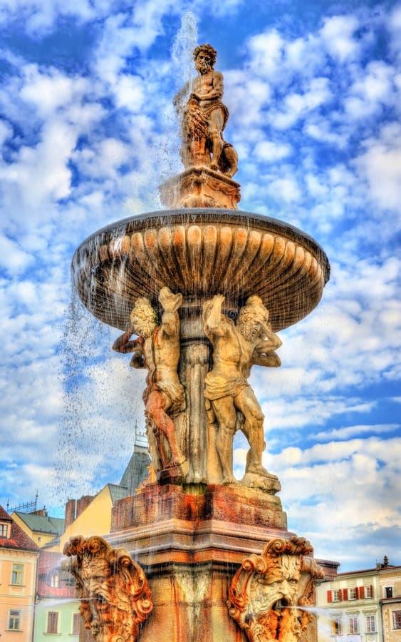 Samson Fountain in de Tsjechische Republiek van Ceske Budejovice stock afbeeldingen