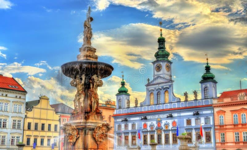 Samson Fountain in de Tsjechische Republiek van Ceske Budejovice stock fotografie