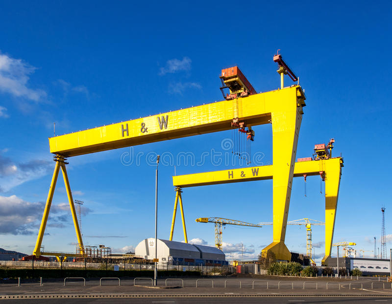 Samson and Goliath. Famous shipyard cranes in Belfast. BELFAST, NORTHER IRELAND, UK - OCTOBER 2, 2016: Samson and Goliath. Twin shipbuilding gantry cranes in stock photography