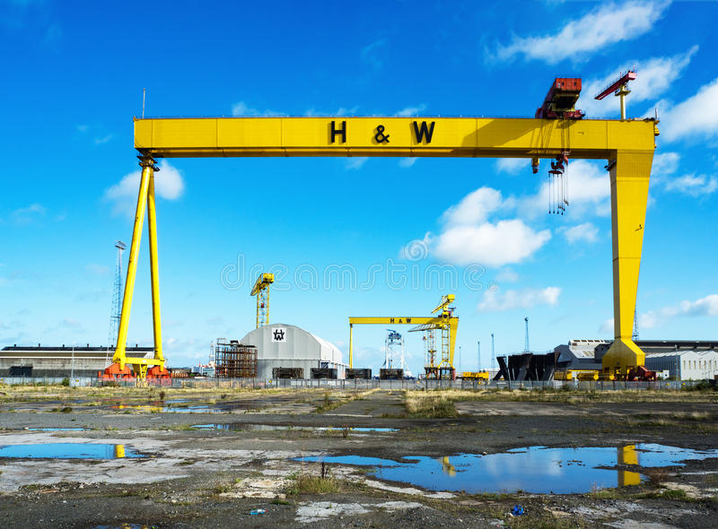 Samson and Goliath. Famous shipyard cranes in Belfast. BELFAST, NORTHER IRELAND, UK - SEPTEMBER 25, 2016: Samson and Goliath. Twin shipbuilding gantry cranes in royalty free stock photography