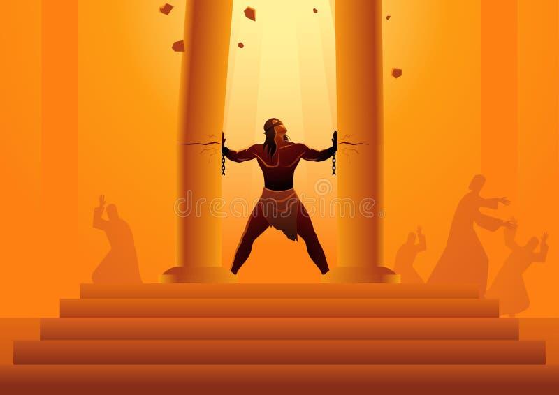 Samson hield de pijlers van de tempel en apart het duwen van hen royalty-vrije illustratie
