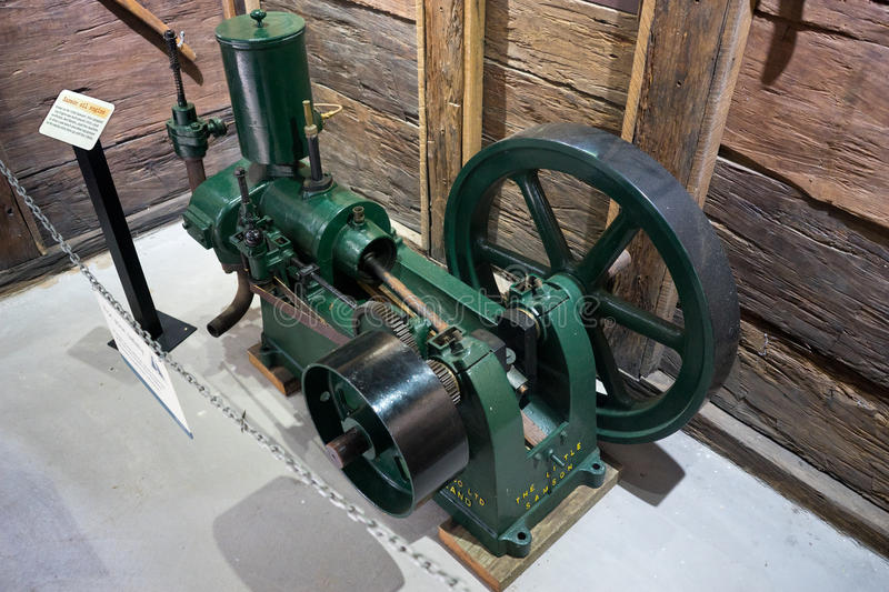 Samson Oil Engine. An oil engine on display in a mining museum. An oil engine is an internal combustion engine that is powered by the burning of fuel oil, as royalty free stock images