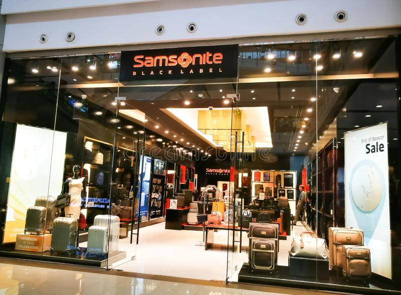 Samsonite is an American luggage retailer store in a shopping mall. BANGKOK, THAILAND. – On July 24, 2018. – Samsonite is an American luggage stock photography