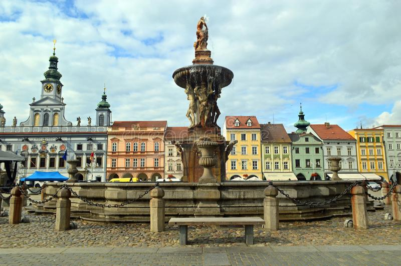 Samsons Fountain and Town Hall 2 on the Main Square at České Budějovice Czech republic royalty free stock photography