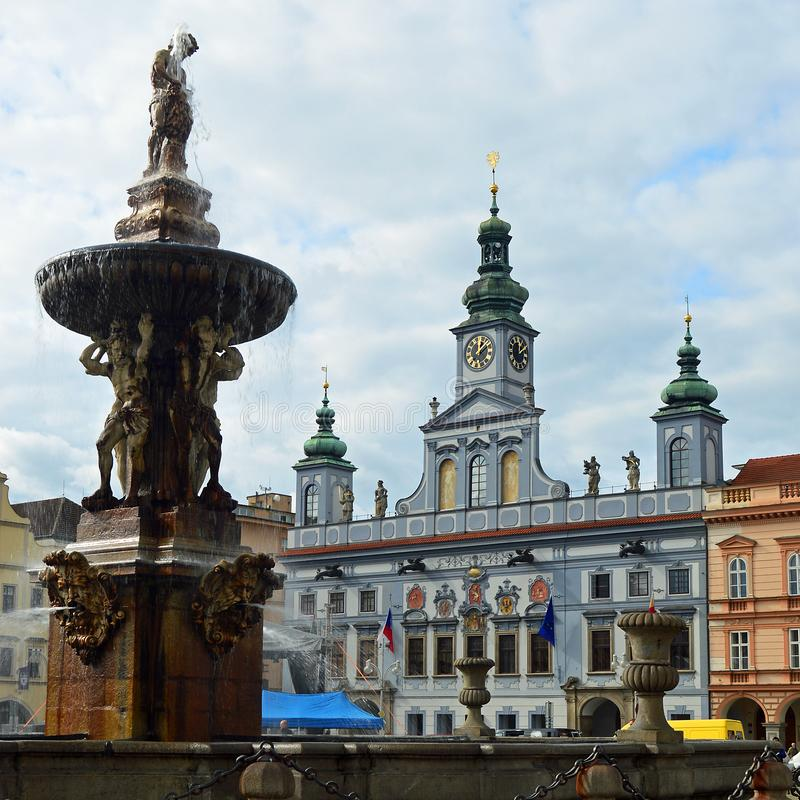 Samsons Fountain and Town Hall on the Main Square at České Budějovice Czech republic stock image