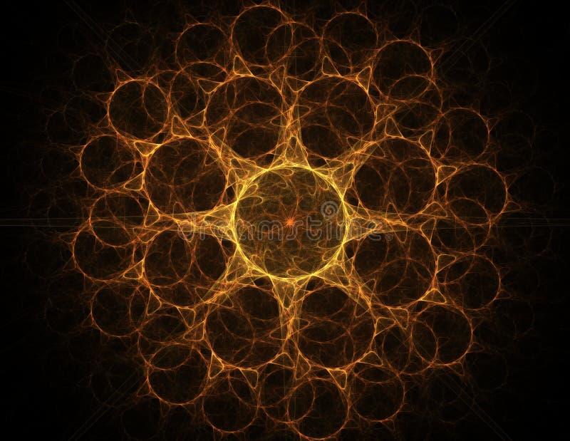Samspel av den abstrakta fractalen bildar p? ?mnet av k?rn- fysik, vetenskap och den grafiska designen Samspel av den abstrakta f vektor illustrationer