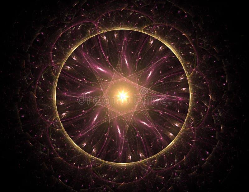 Samspel av den abstrakta fractalen bildar p? ?mnet av k?rn- fysik, vetenskap och den grafiska designen Samspel av den abstrakta f stock illustrationer