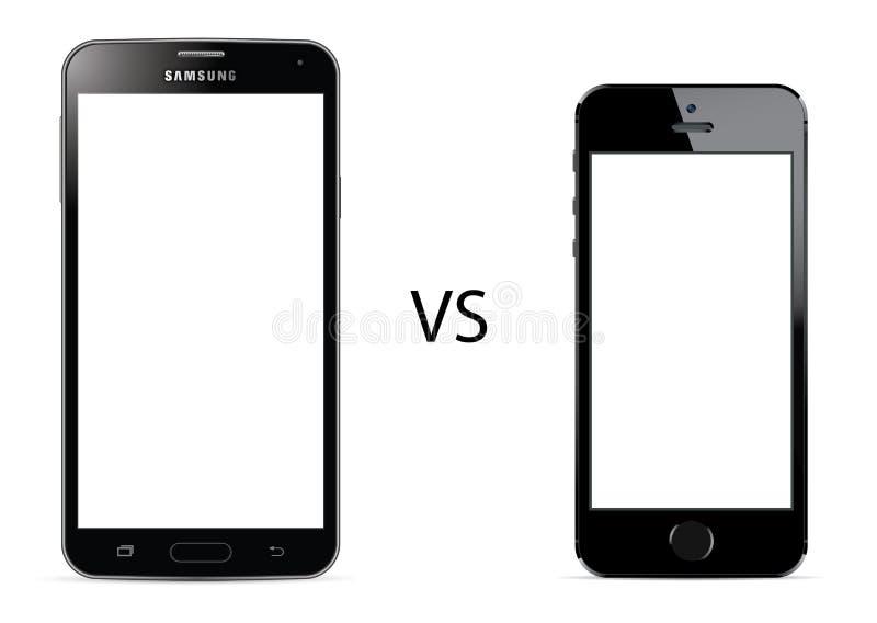 Samsung galax S5 vs den Apple iPhonen 5s stock illustrationer