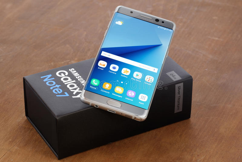 Samsung Galaxy Note 7. Koszalin, Poland - 02 September, 2016:The new photo of silver Samsung Galaxy Note 7. Samsung Note 7 are new generation smartphone from royalty free stock photos