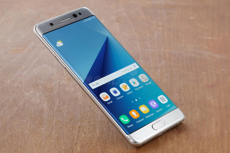 Samsung Galaxy Note 7. Koszalin, Poland - 02 September, 2016:The new photo of silver Samsung Galaxy Note 7. Samsung Note 7 are new generation smartphone from royalty free stock photography