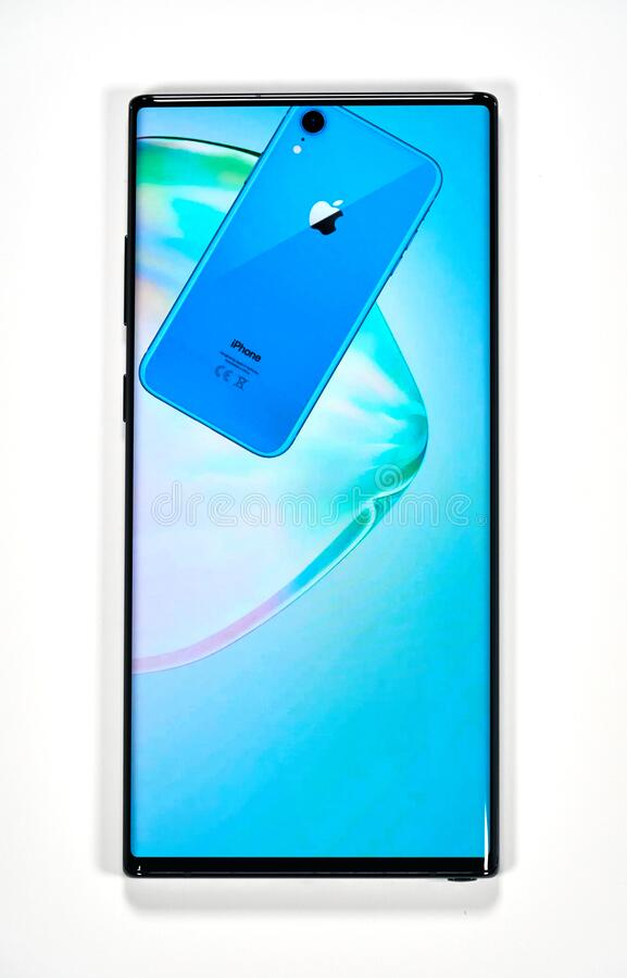 Samsung Galaxy Note 10 Plus cellphone. Montreal, Canada - March 14, 2020: Samsung Galaxy Note 10 Plus cellphone. Samsung Galaxy Note10 is a mobile experience royalty free stock photos